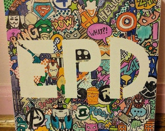 Custom Doodle Collage Canvas