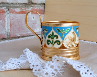 Antique enamel tea glass cup holder Russian serving podstakannik Soviet collectibles Party mythological style Gryphon Hot drinks holder