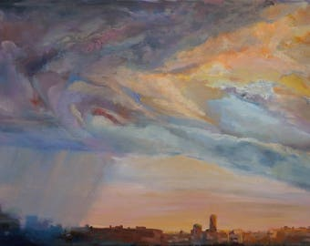 Original Painting Thunderstorm City Landscape Rain Storm Home Decor Large Oil Painting Gifts For BossWall Art Rainy Day Thunder Sky Buy Art
