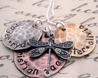 Earthy Family  hand stamped mother's necklace - dragonfly charm necklace - hand stamped necklace