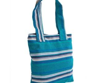 Striped Tote Bag // Women's Handbag // Cotton Shoulder Bag // Everyday Carrier. Handmade, Fair Trade.