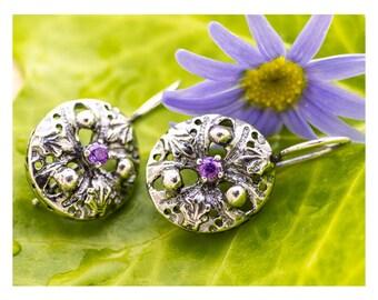 Silver Earrings, Purple CZ Earrings, Sterling Silver Earrings, Silver Jewelry
