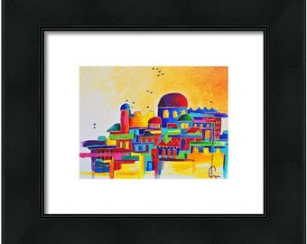 "Judaica art ""Jerusalem"" Jewish home decor"