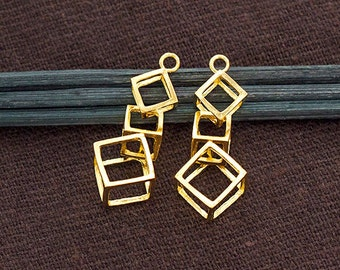 2 of 925 Sterling Silver 24k Gold Vermeil Style 2 Cube Charms 10x25mm.  :vm0854