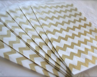 Metallic Gold Chevron Paper Favor Bags, Treat Bags, Candy Bags, 2 Sizes