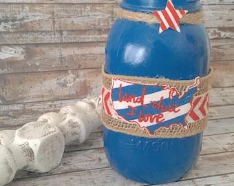 4th of July Mason jar, Painted mason jar, 4th of July decor, nautical mason jar, decorated mason jar, party decor, patriotic mason jars