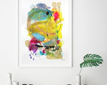 Bright wall art acrylic abstract giclee print, yellow modern abstract painting, colorful watercolor wall decor