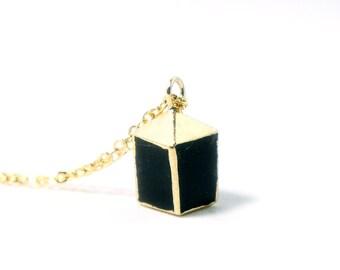 Black Smoky Quartz Cube Necklace - Tiny Quartz Crystal Necklace - Modern Simplicity Jewelry - Black Stone Necklace - Cube Stone Necklace