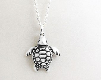 Little sea turtle necklace, sterling silver  sea turtle jewelry, sea turtle pendant, coworker gift, gift for her