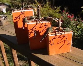 Primitive Country Pumpkin Set Wood Autumn Harvest Farmland Decor woodland Art Projects