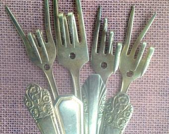 Set of 4 Vintage Fork Coat Hooks...upcycled fork Coat hooks.... Unique home decor...hooks...upcycled forks..One of each design...fork coat