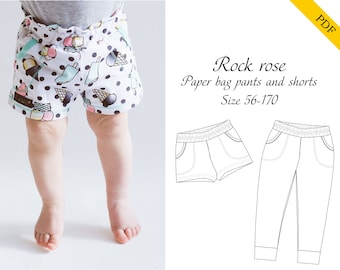Rock rose pants and shorts PDF sewing pattern, instant download, tutorial