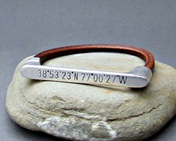 Silver, GPS Coordinates Bracelet, Hand-engraved Latitude Longitude Bracelet, Coordinates Jewelry, Customized To Your Wrist