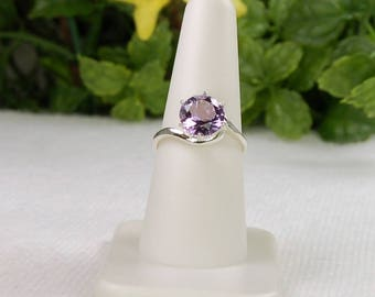Amethyst Ring, Size 8, Sterling Silver, February Birthstone, Amethyst Solitaire, Purple Amethyst, Natural Amethyst