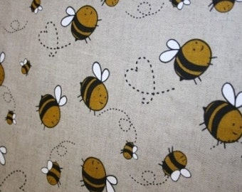 Linen Fabric with Bees, 50x150 cm (19,7 x 59 inch), Eco Friendly