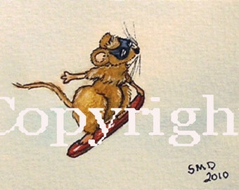 ACEO/ATC/SFA Winter Olympics Art - Mouse Olympics - Snowboarding - Mouse Grabs His Board Mid-Air -Limited Edition Print Signed by Artist