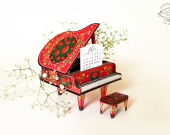 2018 DIY Printable Paper Desk Calendar Papercraft | Colorful Red Grand Piano Miniature | Gift pianist musician music lover musical friend