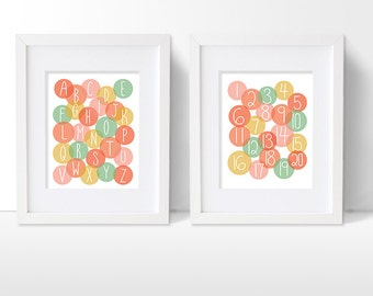 Alphabet and Numbers Art Print Set, ABC and Counting Artwork, Girls Modern Nursery Decor