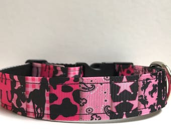 """1"""" cowgirl patchwork collar, Leash Available"""