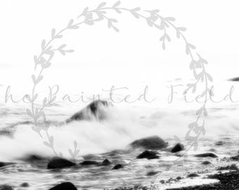 Black and White Waves on the Beach PNW-Digital Download