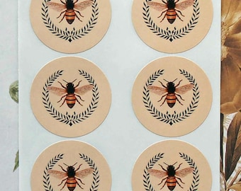 Vintage Style Stickers Envelope Seals Ivory Bee Wreath Party Favor Treat Bag SP004