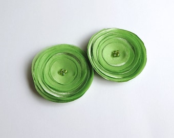 Apple Green Poppies Shoe Clips, Hair Pins, Girl Hair Clips, Baby Snap Clips