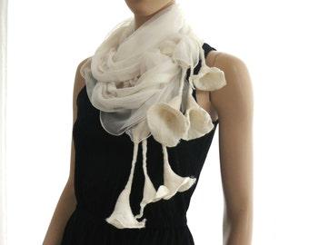 Nuno Felted Scarf merino wool silk floral Nuno felting shawl  White -
