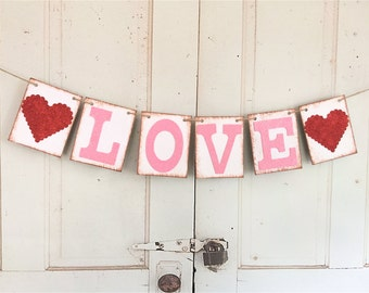 LOVE Banner, Valentine's Day Banner, Engagement Party Decoration, Photo Prop, Glittered