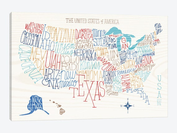 Line Art Usa Map : United states map art print typography poster
