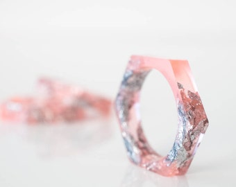 minimalist stacking ring size 6 hexagonal eco resin bright grapefruit pink with silver leaf flakes