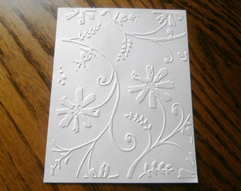 STYLIZED FLOWERS Embossed Card Stock Panels Perfect for Scrapbooking and Card Making - Set of 12