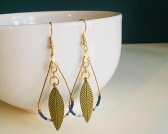Feather drop beaded earrings for women - Handmade in Montreal