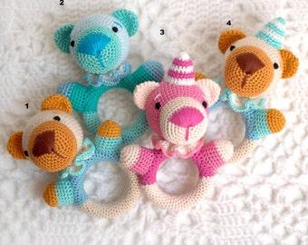 Rattle, soft rattle, teddy bear on the choice, Natural Teether, Rattle, organic Teether, safe rattle, handmade, Rattle teddy