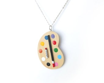 Miniature Painters Palette Pendant on Silver Chain
