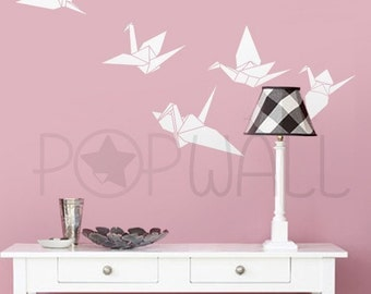 Origami Bird Wall Decal, Crane Wall Decals , Wall Sticker Vinly Art ,Wall Graphic  - 019