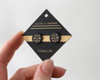 Laser cut earring   STUD: Black Arrow