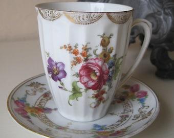 Antique Teacup and Saucer Demitasse Set Fine Porcelain Germany Floral Dresden