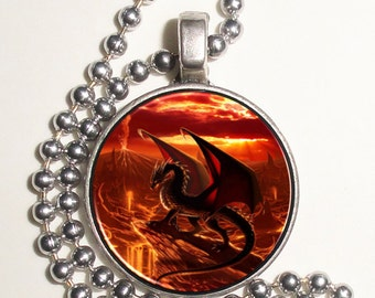 Volcanic Dragon Altered Art Photo Pendant, Earrings and/or Keychain, Round, Silver and Resin Charm Jewelry