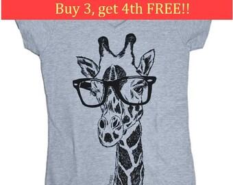 Funny Tshirts Women - V Neck - Hipster Giraffe Tee - Funny Womens Tee - Fashion TShirts - Grey Tee Shirt - Gift for Women