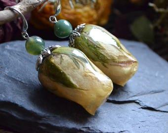 Dangling earrings with dried Rosebuds, handmade, whimsical jewelry, flowers, Bohemian chic jewelry