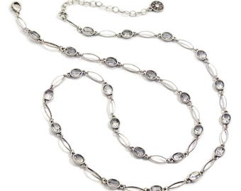 Oval Crystal Station Necklace, Crystal Necklace, Chain Necklace, Long Necklace, Layering Necklace, Silver Necklace, Bronze Necklace N1512