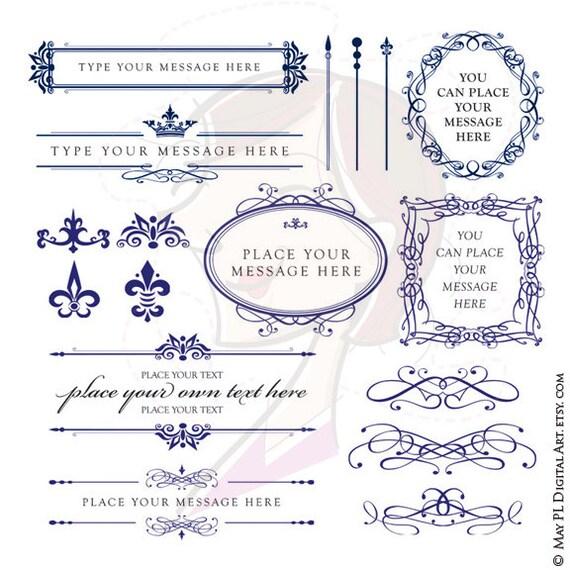 ROYAL BLUE Wedding Clipart DIY Invitations Digital Oval Frame Scrapbook Embellishment Calligraphy Design Elements Vintage Frames Png 10431 From