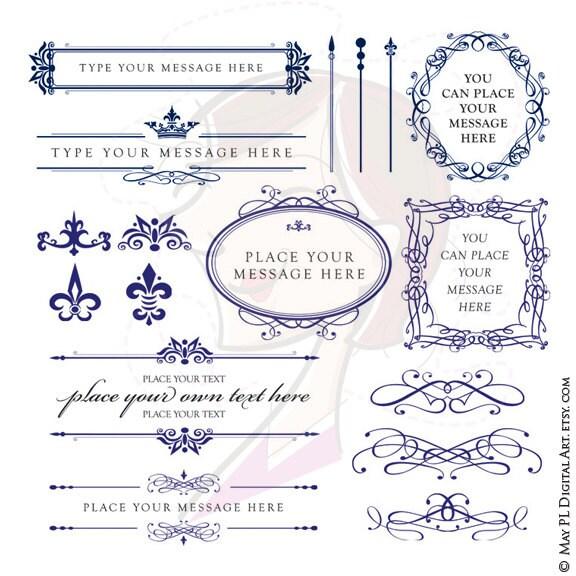 ROYAL BLUE Wedding Clipart DIY Invitations Digital Oval Frame