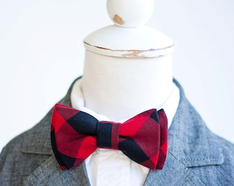 """Bow Tie, Boys Bow Tie, Bow Ties, Baby Bow Ties, Bowtie, Bowties, Ring Bearer, Bow ties For Boys, Ties - Black And Red 1"""" Gingham Check"""