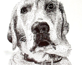 Instant Download of Yellow Lab Pointillism Drawing