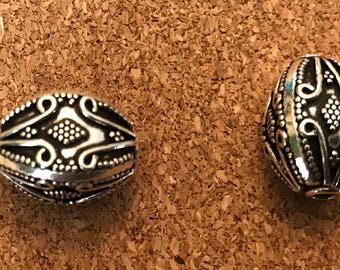 Two Sterling Silver Bali Beads, Sterling Silver Beads, 925 Beads