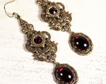 Garnet Renaissance Earrings, Red, Medieval Jewelry, Tudor Earrings, Borgias, Bridesmaid Earrings, Ren Faire, Handfasting, SCA, Avalon