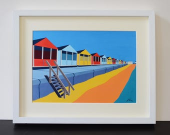 Southwold Beach Hut themed Mounted Fine Art Print - 'Upright and Proud' - English Seaside - Art Deco - Travel Poster - by Rebecca Pymar