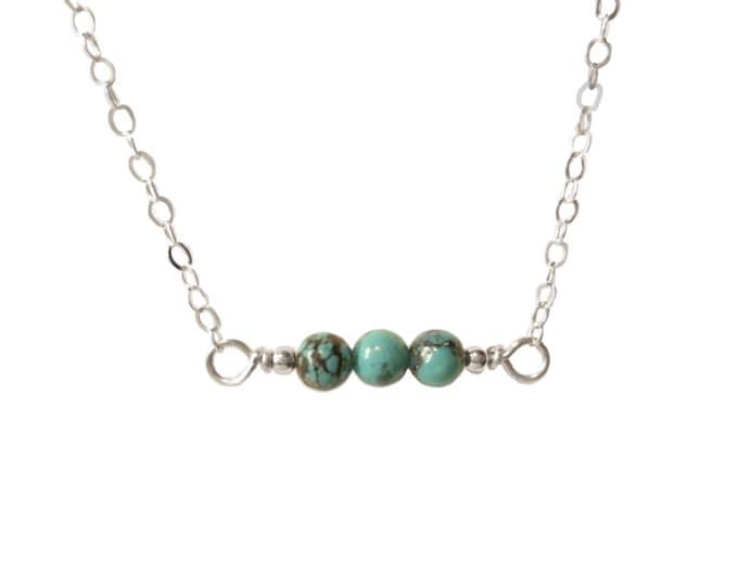 Horizontal Turquoise Necklace - 4mm