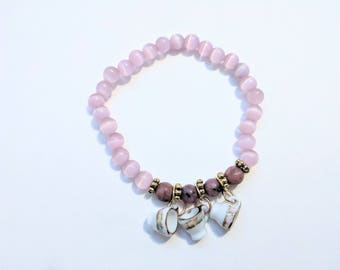 Dainty  Pink Glass Stretch Bracelet with Glass Teacup Charms